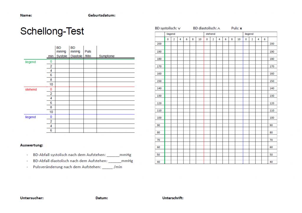 Schellong Test Vorlage zum Ausfüllen